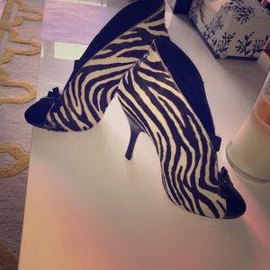 AZZEDINE ALAiA Zebra Calfskin Booties